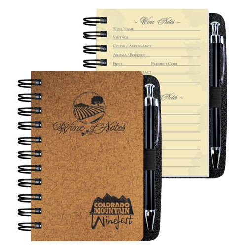 "4""x6"" Wine Journal w/ Retractable Pen"