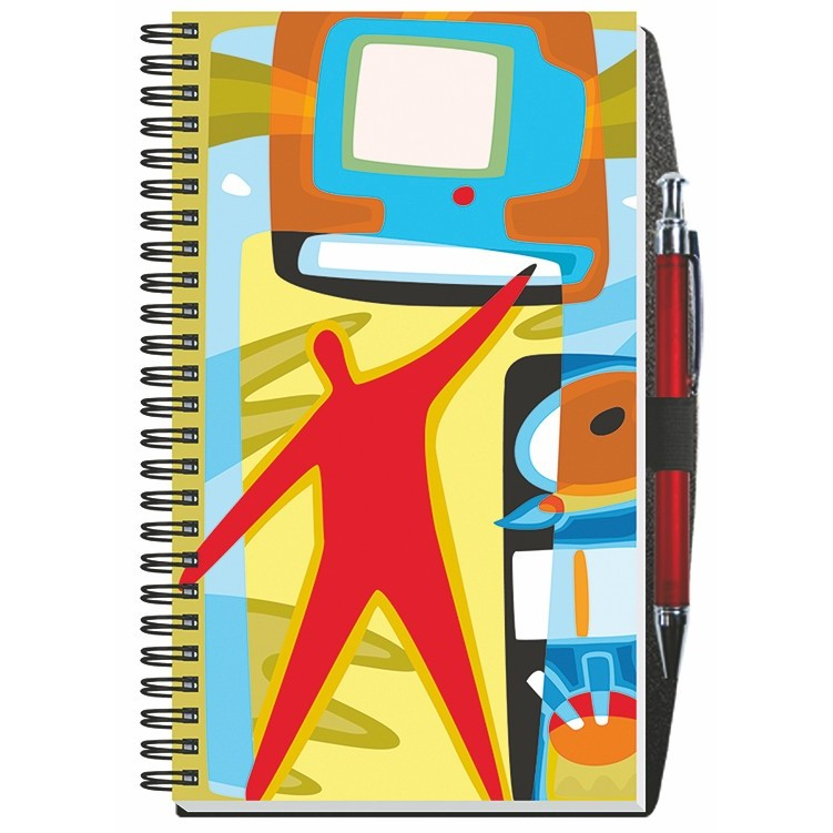 """5 1/4""""x8 1/4"""" Gloss Cover Journals w/ 50 Sheets & Pen"""