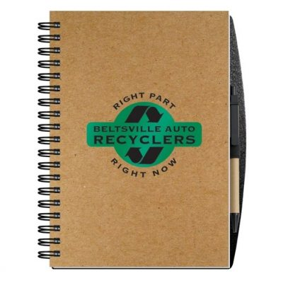 "Recycled Journals w/Pen Safe Back Cover (7""x10"")"