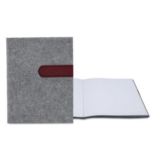 """Feltro Collection Gray Felt Sewn Commuter Journal 7"""" x 9"""""""