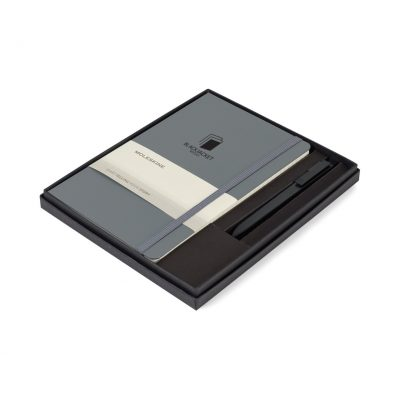 Moleskine® Large Notebook and GO Pen Gift Set - Slate Grey